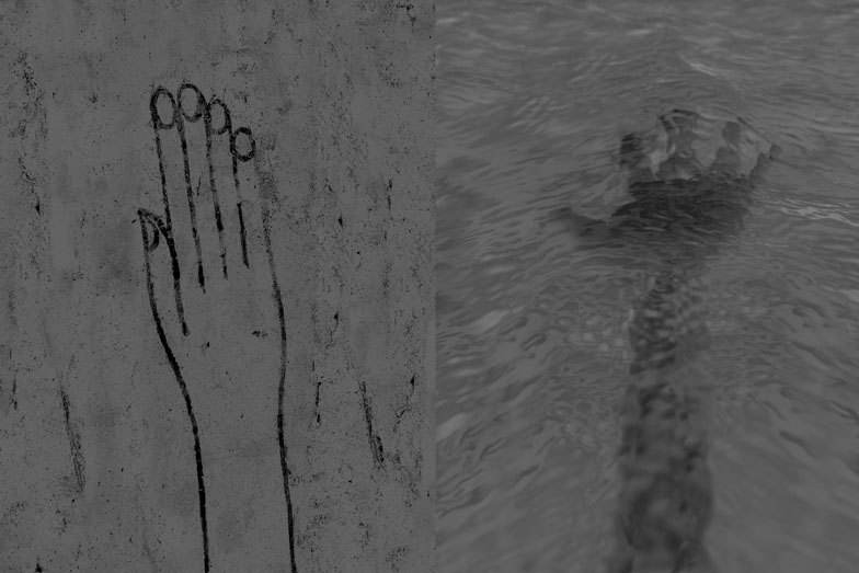 UNTITLED DIPTYCH, 2009, PHOTOGRAPH, 24 x 40 inches (LEFT TO RIGHT) EGYPTIAN HAND DRAWING, LONDON; HAND IN WATER, LONDON.