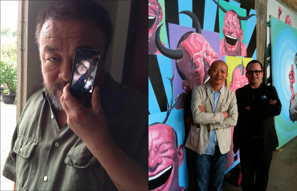 Left: Ai Weiwei using Facetime with Ethan Cohen. Right: Yue Minjun (l) and Ethan Cohen (r) in Studio, 2010