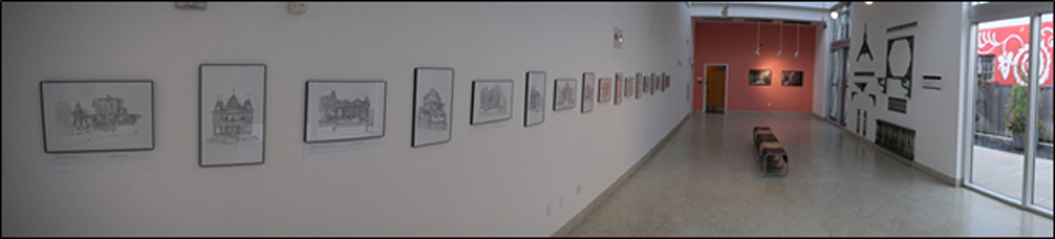 Drawings by Angeline Phillips line the east wall leading down the nave. Photo: Claudia & Gustavo Garcia.