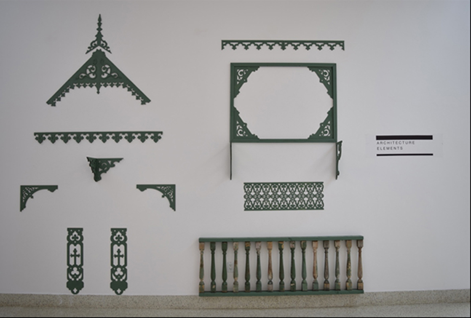Architectural ornamentation commonly featured in the gingerbread style. These are fine examples of lace motif, repetitive patterns, and a wooden baluster (bottom right). Photo: Claudia & Gustavo Garcia.