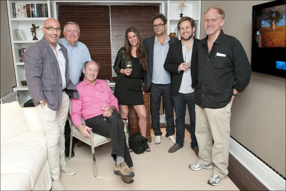 Opening Day (April 1, 2012) in the Writer's Room at The Betsy – (L to R): Tom Healy, Les Standiford, Billy Collins, Melissa Broder (& husband), Scott Cunningham, Campbell McGrath.