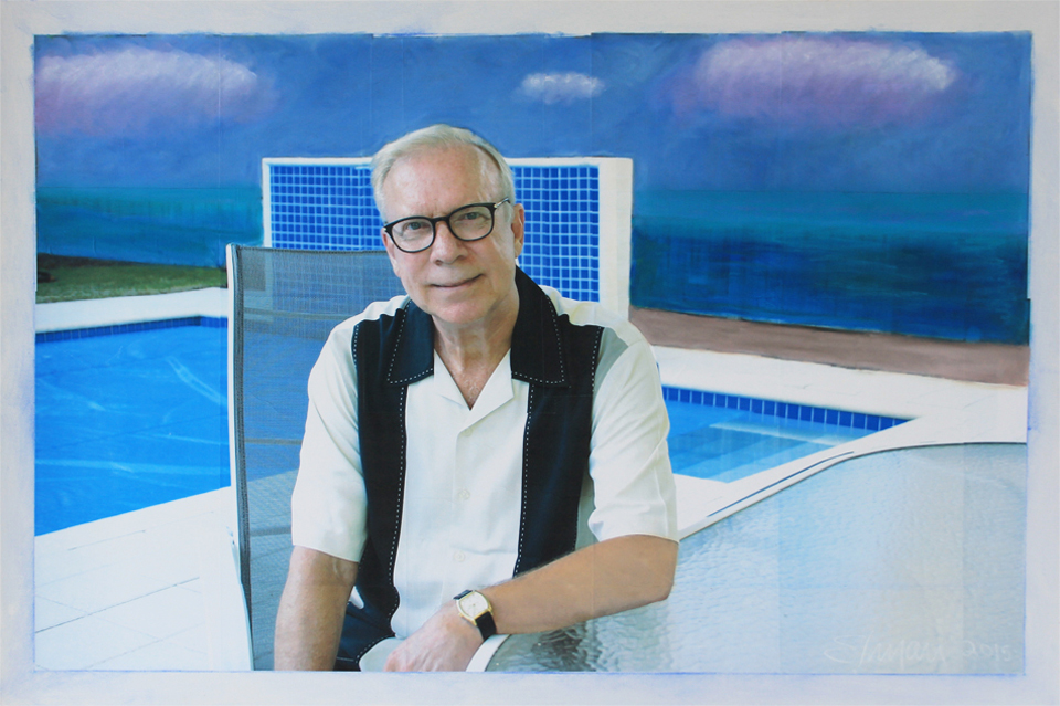Poolside, 2015. 60 x 40 inches. Oil & digital collage on canvas. By Raymond Elman.