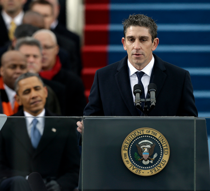 """5th Presidential Inaugural Poet Richard Blanco reading his poem """"One Today"""" at the 2013 swearing-in ceremony for President Obama."""