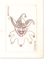 Robinson's original sketch for the Joker's business card.