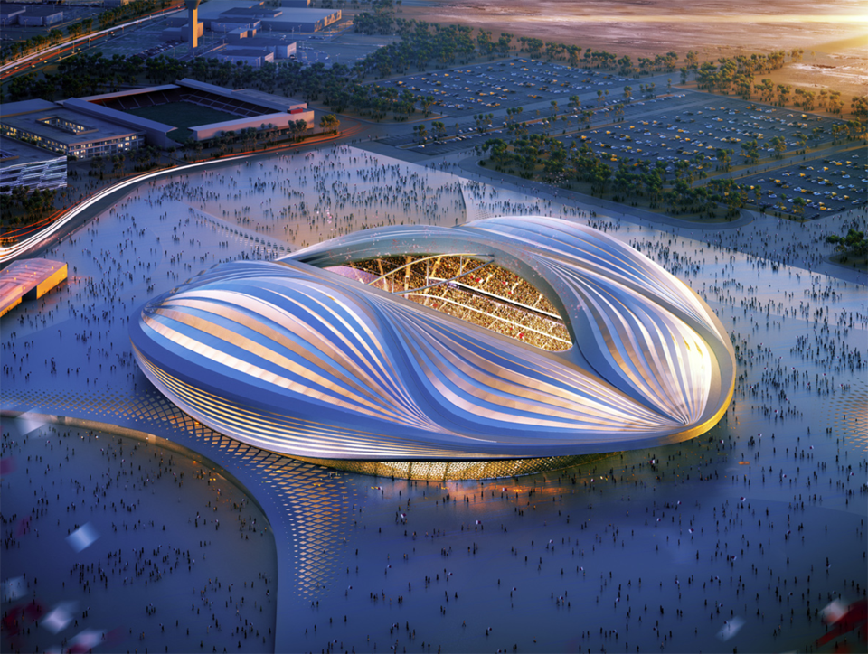 Al Wakrah Stadium, Qatar. Courtesy: Zaha Hadid Architects.